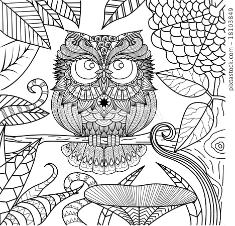 Owl coloring book - Stock Illustration [18103849] - PIXTA