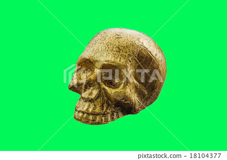 gold skull Isolated on green screen 18104377