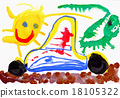 Child drawwater color paints. Car, sun and lizard. 18105322