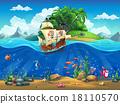 Cartoon underwater world with fish, plants, ship 18110570