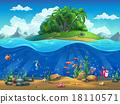 Cartoon underwater world with fish, plants, island 18110571