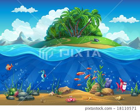 Stock Illustration: Cartoon underwater world with fish, plants, island