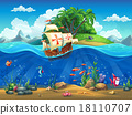 Cartoon underwater world - fish, plants, caravel 18110707