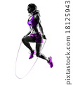 woman fitness Jumping Rope exercises silhouette 18125943