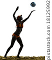 woman beach volley ball player silhouette 18125992