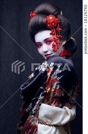 young pretty geisha in kimono with sakura and 18126760