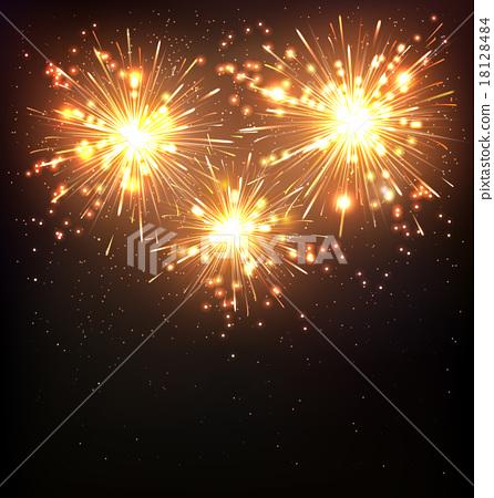 Festive Firework Salute Burst on Black 18128484