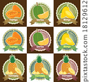 Set of fresh tropical fruits tag label badge 18129612