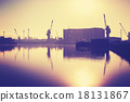 Vintage toned harbor at sunset, Szczecin in Poland 18131867