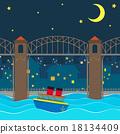 bridge, night, boat 18134409