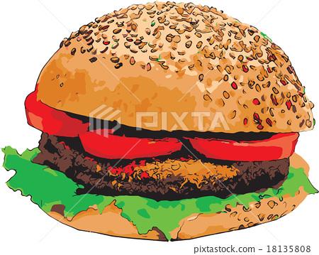Sketch of Hamburger vector illustration 18135808