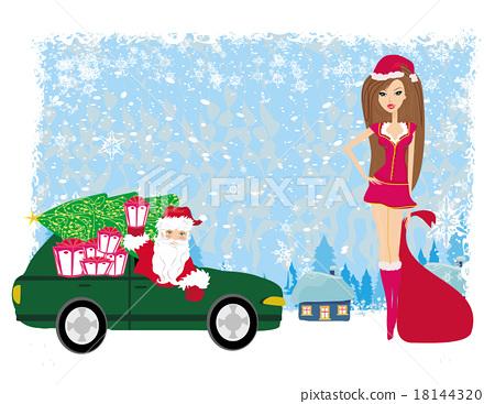 Santa Claus and beautiful woman 18144320