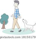 男性遛狗 18150179