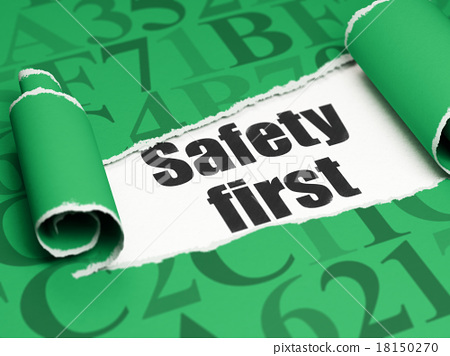 Security concept: black text Safety First under 18150270