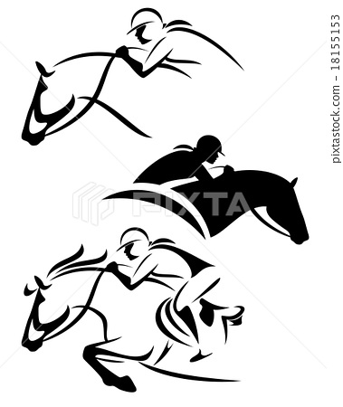 female rider - jumping horse outline 18155153