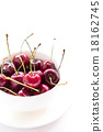 Cherries on white bowl isolated 18162745