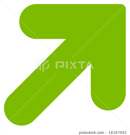 Arrow Up Right Flat Eco Green Color Icon