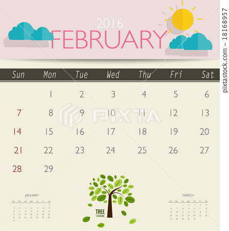 2016 calendar monthly calendar template for february vector il