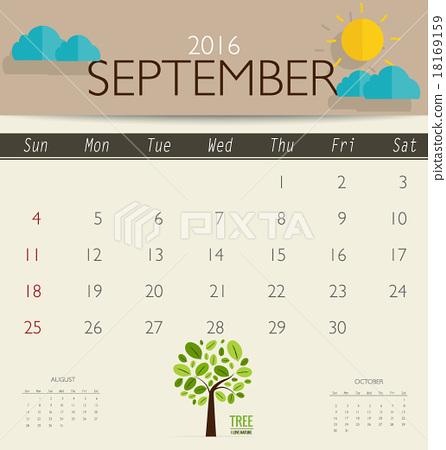2016 calendar monthly calendar template for september vector i