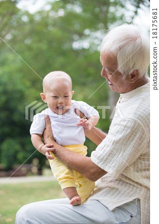 Asian Chinese grandpa and grandson 18175681