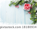 Christmas gift box and fir tree branch 18180934