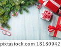 Christmas gift boxes and fir tree branch 18180942