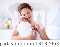 Mother and newborn baby in white nursery 18182063