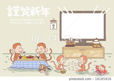 monkey, monkeys, new year's card 18185918