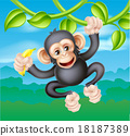 chimp, cartoon, banana 18187389