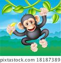 Cartoon Chimp with Banana 18187389