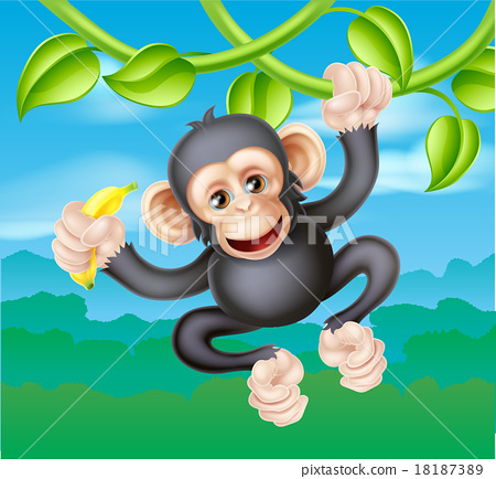 Cartoon Chimp with Banana 18187389