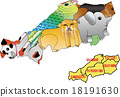 Map animal Chugoku Region 5 prefectural coalescence version 18191630