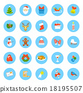 Christmas symbols flat vector round icons set 18195507