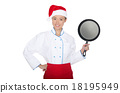 smiling asian chef with frying pan and Christmas hat 18195949