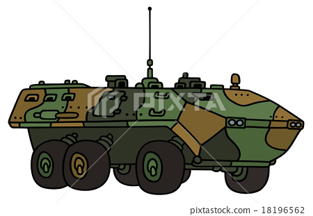Camouflage wheeled troop carrier 18196562