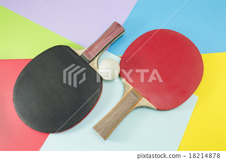 Pair of table tennis rackets on collage background 18214878