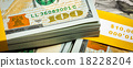 Background of new US dollars banknotes bills  18228204