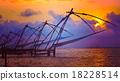 Chinese fishnets on sunset. Kochi, Kerala, India 18228514