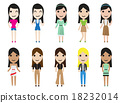 casual set woman characters in flat style 18232014