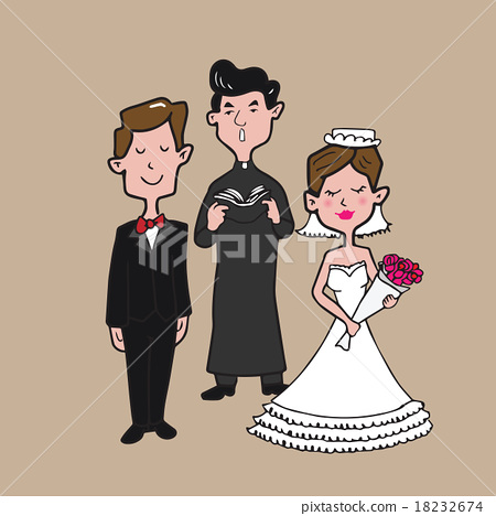 Bride and Groom and Priest 18232674