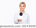 Agreeable TV announcer being involved in work  18243640
