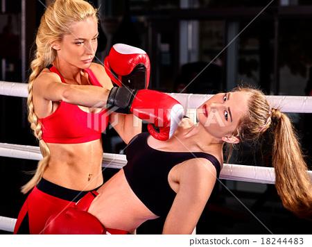 Stock Photo: Portrait of sport girl boxing.