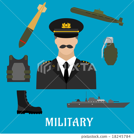 Military profession and navy flat icons 18245784