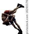 wrestlers wrestling men isolated silhouette 18260376