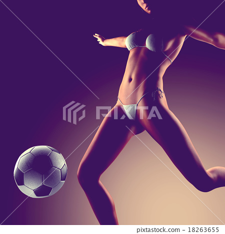 Young sexy woman football player 18263655