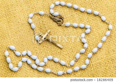 Rosary on jute fabric  18286409