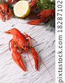 crayfish boiled with lemon close up on a table 18287102