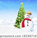 Christmas Holiday Christmas Tree Snowman Decoration Concept 18298716