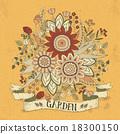 우아한, 벡터, 꽃 18300150