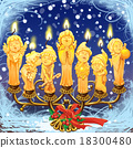 Seven magical Christmas candle in a candlestick. 18300480